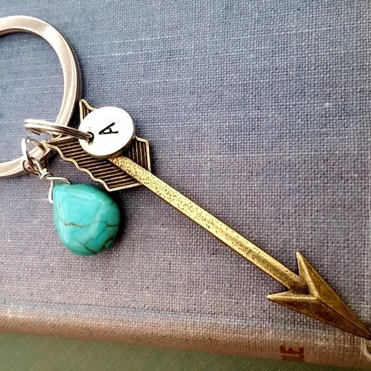 Personalized Arrow Keychain  2 Colors by 4Everinstyle on Etsy