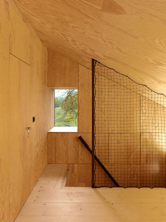 Love the stair detail in this plywood room savioz house, giète-délé, conversion
