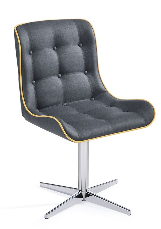Cadeira Betina se destaca pela sua beleza, leveza e versatilidade. Descrição Técnica: Cadeira com concha multilaminada toda estofada com diversos tipos de acabamento. Opções de acabamento: botonê, gomada, quadriculada. Opções de bases: bases giratórias em inox, cromo e alumínio. obs: as bases podem ser pintadas conforme cartela de cores. Dimensões:Altura: 85cmLargura: 52cmProfundidade: 55cmAltura do assento: 46cm