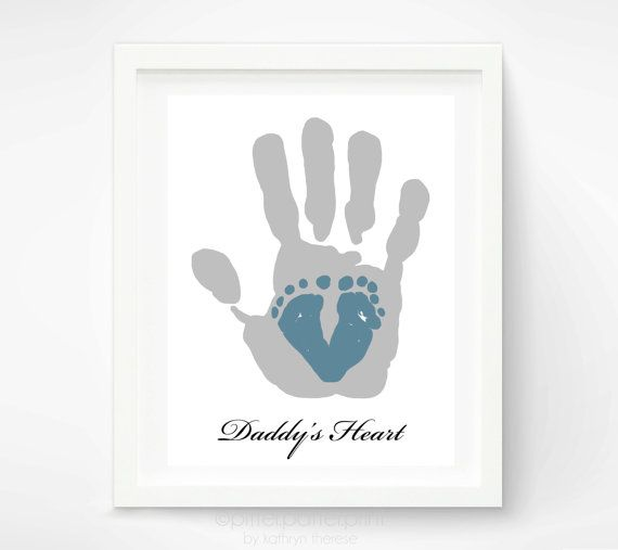 First Father's Day Gift for New Dad - Baby Footprint & Dad Hand Print - Personalized Gift for Dad -  Valentines Day Gift