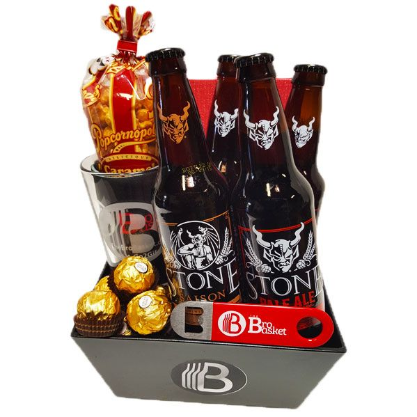 The California Craft Beer sampler is the best lil gift basket for the guys in your life that need more craft beer in theirs.  It fautures four of the top beers from a selection of our hand picked California breweries.  These are good beers, trust us, we've sampled them all, more than once!