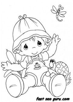 summer little boy playing with insect coloring pages - Printable Coloring Pages For Kids