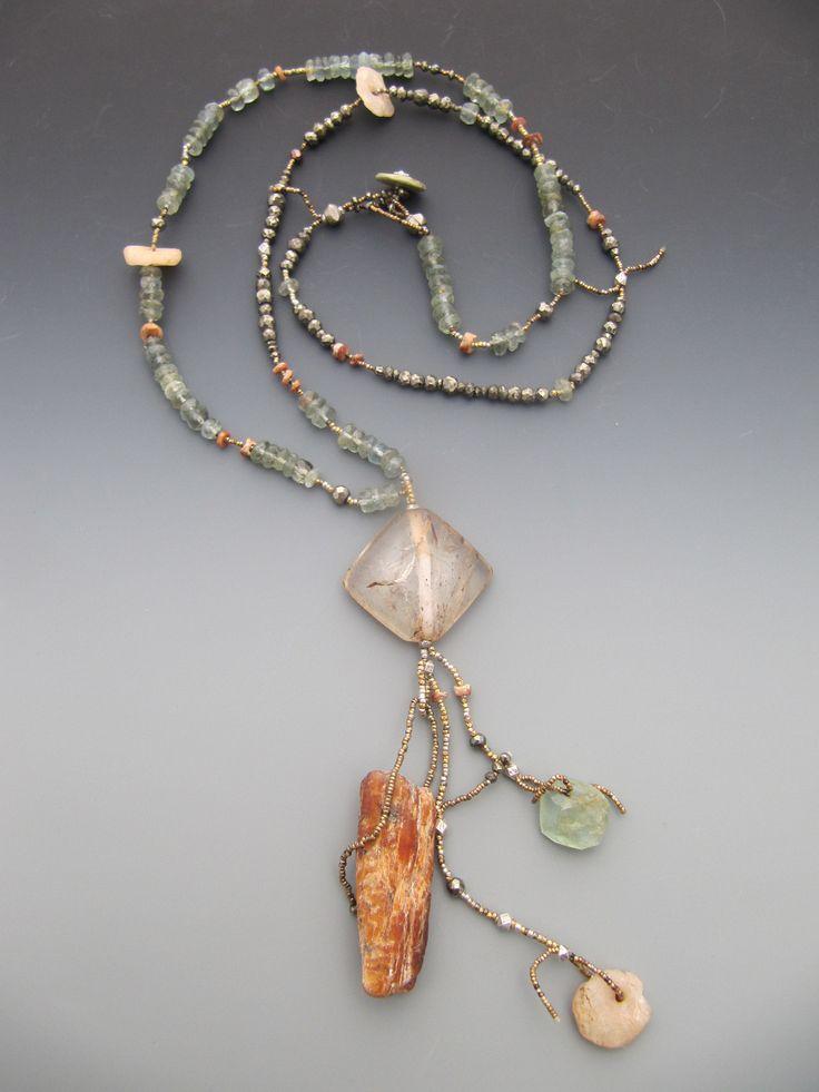 Tibetan rudilated quartz, orange kyanite, antique Mali agate, moss aquamarine, pyrite LuciaAntonelli.com