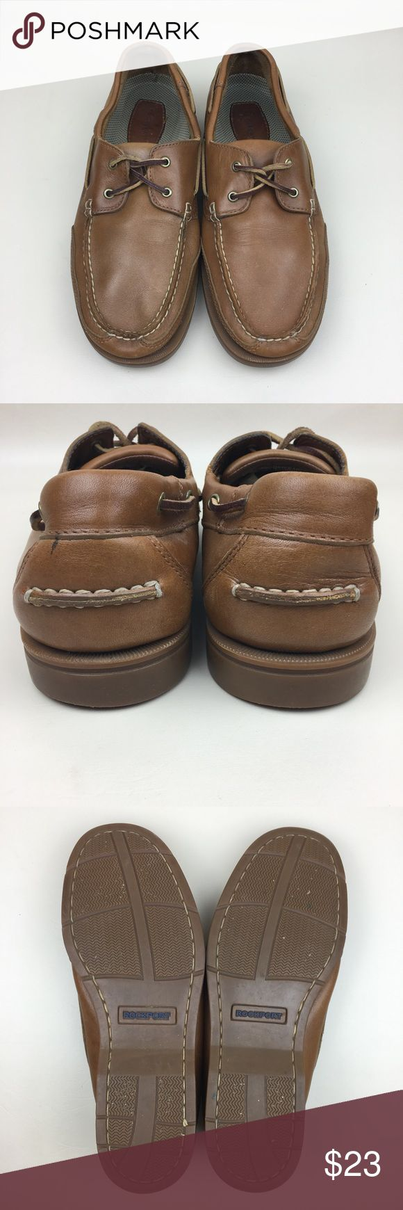 ROCKPORT Men's Leather Boat Shoes Size 10.5 ROCKPORT Men's Leather Boat Shoes Size 10.5. Small spot on the left heel. Some tiny paint speckles on toe box area - white on left shoe, red on right shoe (see photos) - very subtle until up very close. Rockport Shoes Boat Shoes