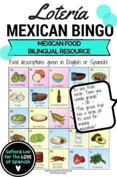 Introduce 25 Mexican Foods I always loved playing Loteria with my students but never had a set made for our specifically for our unit. This is a version of the popular Mexican Bingo game called Loteria. Perfect activity to celebrate Cinco de Mayo or to talk about Mexican / TexMex foods in a beginning level Spanish class.Includes: 40 bingo cards (printed 2 per page), calling cards, answer board and two call lists with 25 sentences describing each food in Spanish or English.