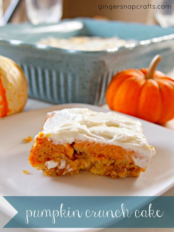 Pumpkin crunch cake with cream cheese frosting- 21 Delicious Fall Desert Recipes
