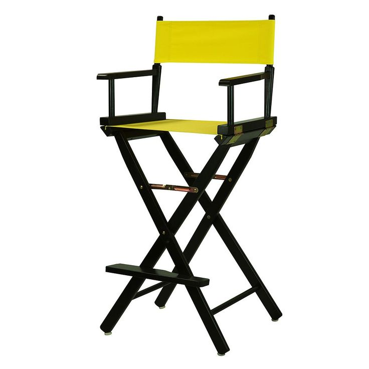 Casual Home 30'' Black Finish Director's Chair Bar Stool, Yellow