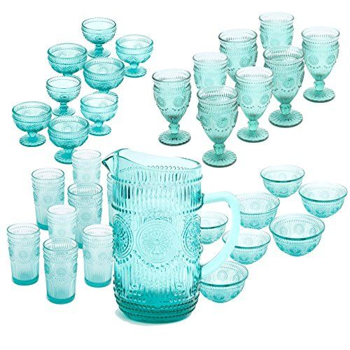 The Pioneer Woman Adeline Glass Bundle with 1 Pitcher, 8 ...