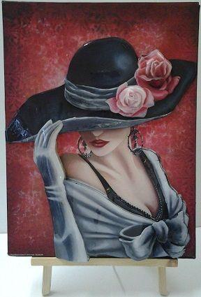 Tableau 3D Femme chapeau fond rose 30x40