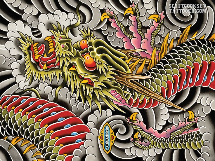 Traditional Japanese dragon tattoo style painting by Scott A Cooksey of Lone Star Tattoo shop in Dallas Texas. http://ift.tt/2hhUc3Q