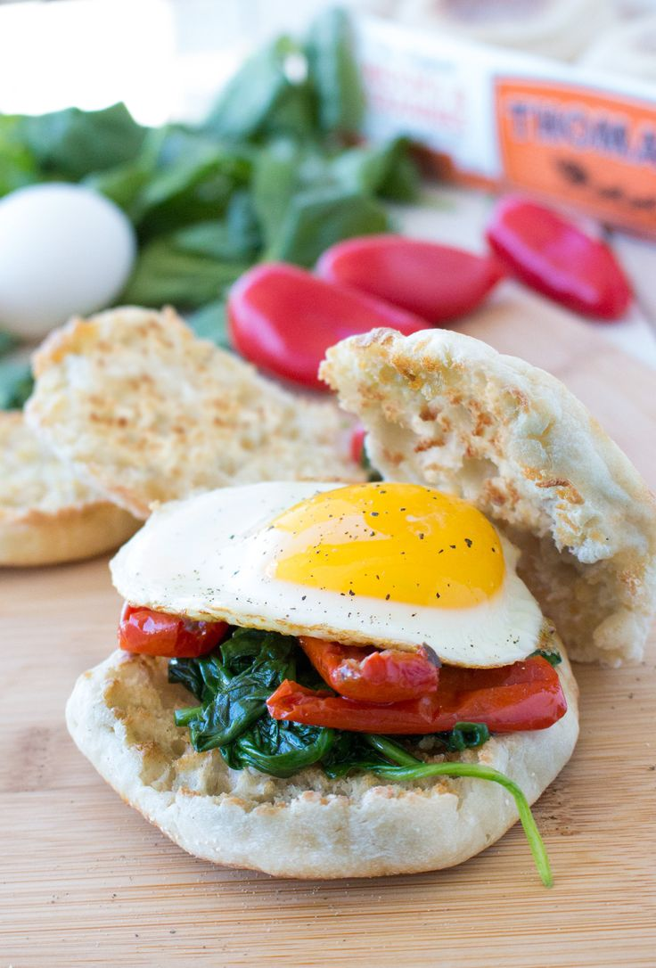 Roasted Pepper, Egg & Spinach: Sauté your way into deliciousness with roasted red peppers, spinach and a fried egg atop a toasted Thomas' English Muffin.