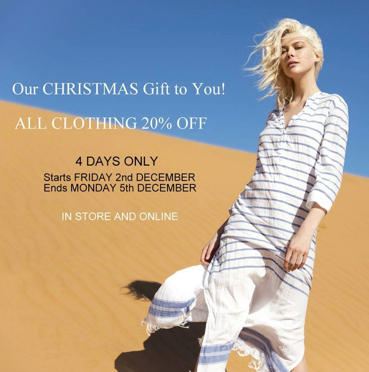 We love the Festive Season so here's our gift to you..Enjoy 20% OFF Clothing 4 DAYS only, starts tomorrow in store and online! Use COUPON CODE : GIFT20 when checking out online. ♡♡ The Saltwater Girls xx #christmas #gift #promotion #clothing #oneseason #oneseason_official #kaftans #camilla #camillawithlove #camillaworld #rubyyaya #rubyyayafashion #fashion #fashionbloggers #style #saltwatersorrento #sorrento #sorrentocoast #portsea #beachliving #morningtonpeninsula #peninsulalife #shop…