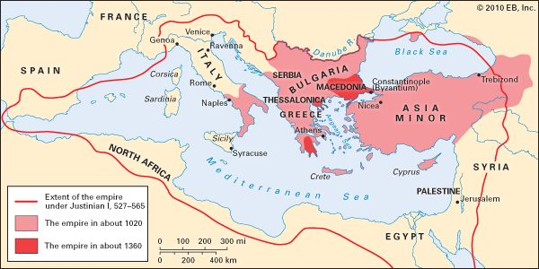 The Byzantine Empire Was Split Into Two Individual Regions After The