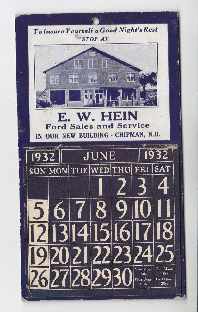 1932 Calendar E.W. Hein Ford Sales Chipman, N.B.
