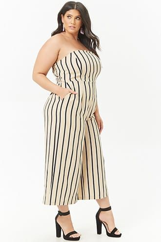 ff59bb0fe Plus Size Striped Strapless Wide-Leg Jumpsuit in 2019 | Products ...
