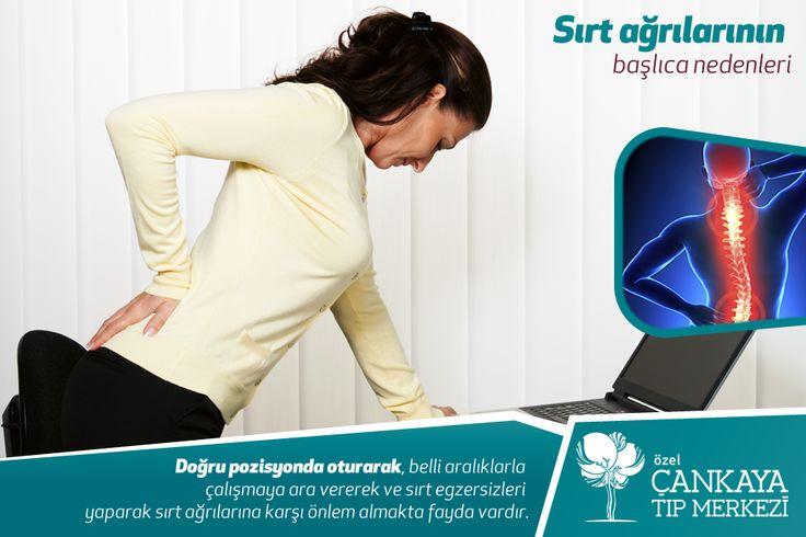 Sırt ağrılarının başlıca nedenlerini stres, duruş buzuklukları, fibromiyalji semdromu, omurga patogojileri ve eğrilikleri, yansıyan ağrılar, interkostal nevralji, fıtık ve kireçlenmeler, osteoporoz ve ilthaplı romatizma rahatsızlıklarıdır. Doğru pozisyonda oturarak, belli aralıklarla çalışmaya ara vererek ve sırt egzersizleri yaparak sırt ağrılarına karşı önlem almakta fayda vardır. #sırtağrıları