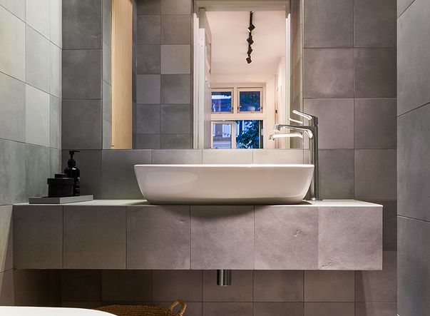 Bathroom made by us! Tiles is from 41zero42 - mate. Servant is Artis from villeroy & boch. mixer is Citterio by Hansgrohe. Foto by Anette Hov. Tiler and architect works together. Find more about us at www.flottebad.no