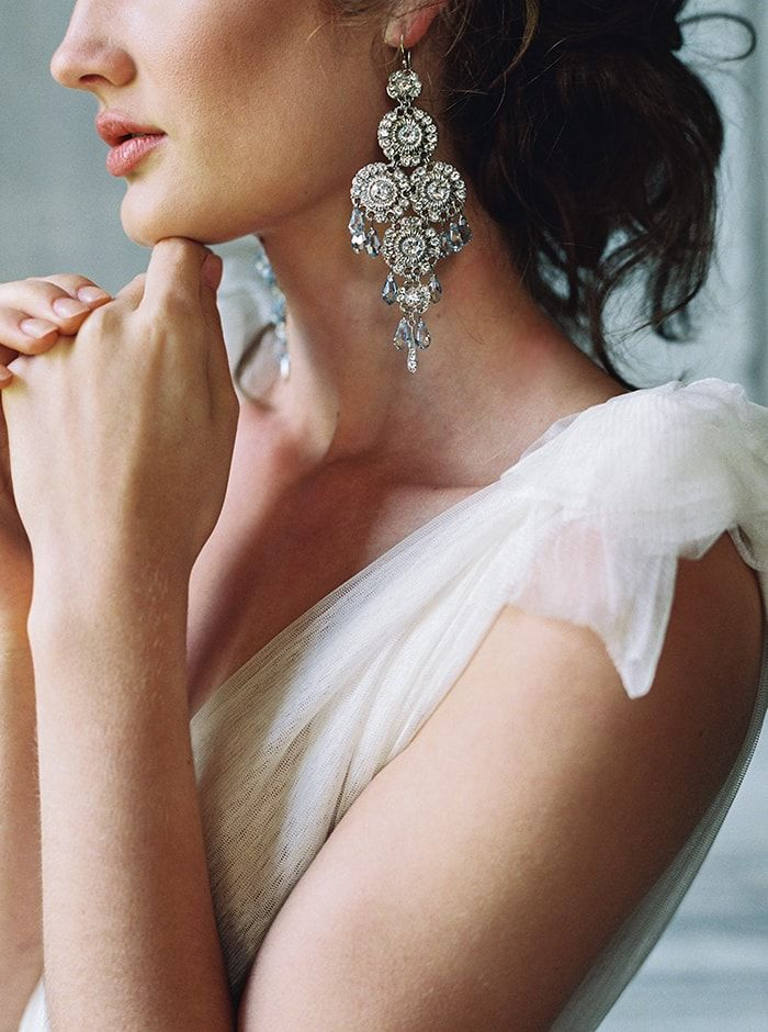 Intricate statement earrings to wear on your wedding day.