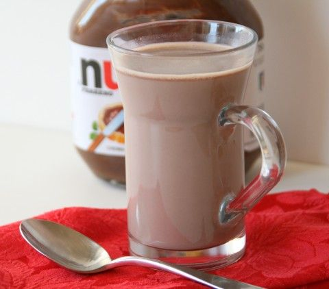 Nutella Hot Chocolate.  1 cup of hot milk.  1 1/2 to 2 tbsp. of nutella.  Stir to dissolve and that's it!  So going to try this!