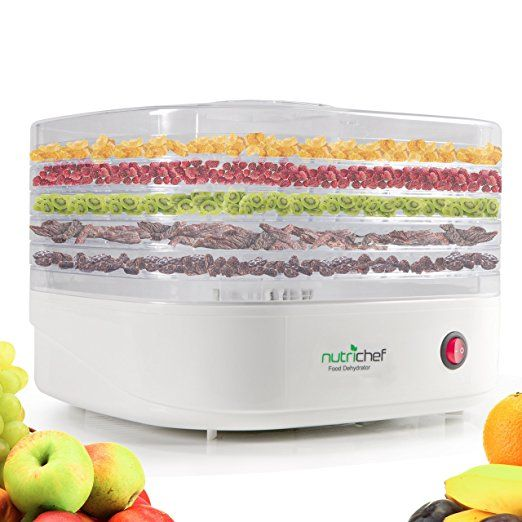 NutriChef Food Dehydrator Machine - Professional Electric Multi-Tier Food Preserver, Meat or Beef Jerky Maker, Fruit /Vegetable Dryer with 5 Stackable Trays, High-Heat Circulation - (PKFD06)
