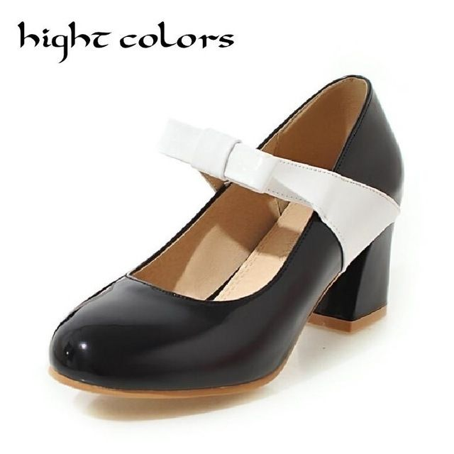 Casual Japanned Leather Plus Size 34-48 White Bow Thick Heel Mary Jane Women Pumps Sweet Round Toe High Heels Women Shoes