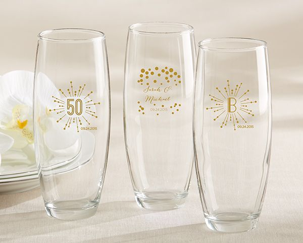 Personalized 9 oz. Stemless Printed Champagne Glass - Milestone Gold