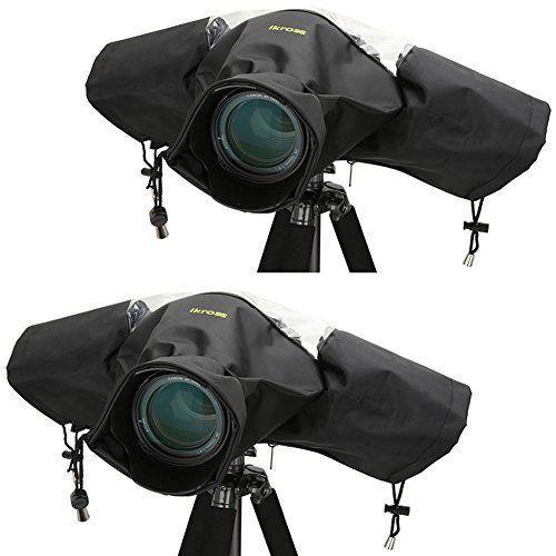 2 Pack Rain Cover, iKross Professional Camera Protector Rainproof for Canon Nikon Olympus Sony Panasonic Ricoh Samsung Pentax FujiFilm DSLR SLR Cameras