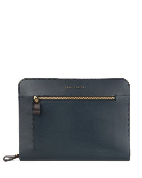 Leather document bag - Charcoal | Bags | Ted Baker