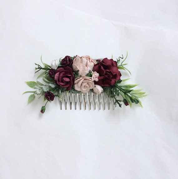 Burgundy Wedding Hair Piece Deep Red Flower Hair Clip Burgundy