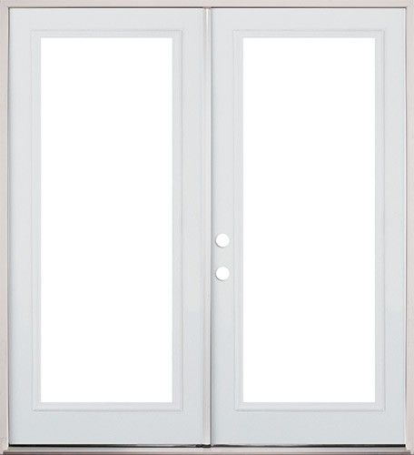 6 0 full lite fiberglass patio prehung double door for Double wood doors with glass