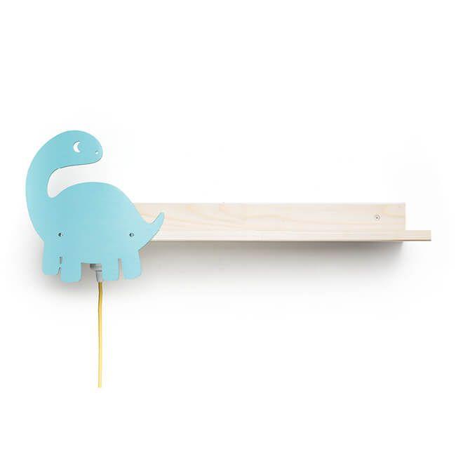 Designer Wandregal mit Leselampe - Motiv Dino, Bücherregal, Bettablage