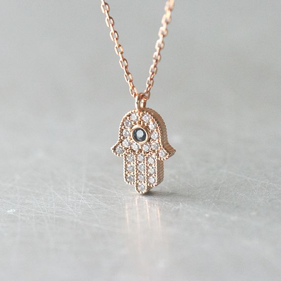 Sapphire Blue Rose Gold Hamsa Hand Evil Eye Necklace Sterling Silver from kellinsilver.com