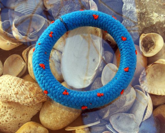 Turquoise ClimbingRope Bangle/with Red Polka by JollyJollyJulie