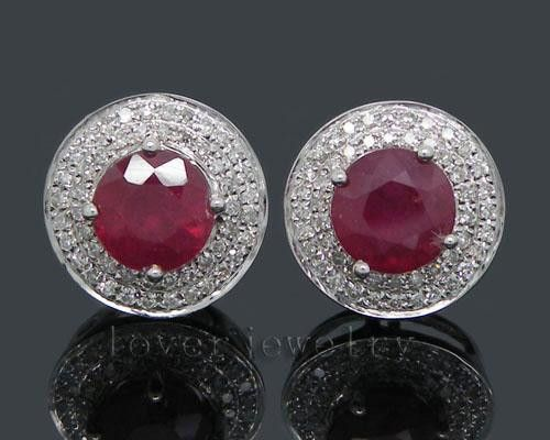 solid 14kt white gold round diamond blood red ruby earrings,ruby stud earrings 6mm