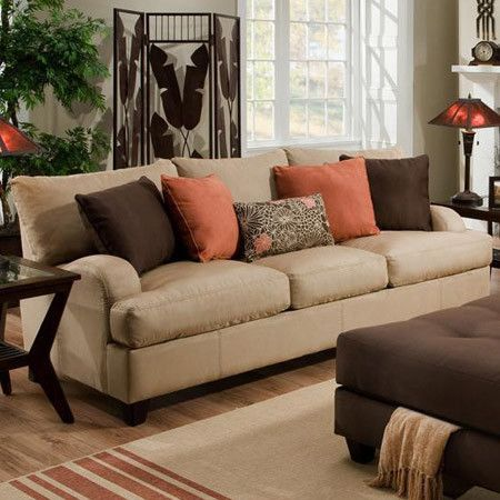 Image result for throw pillow arrangement on loveseat
