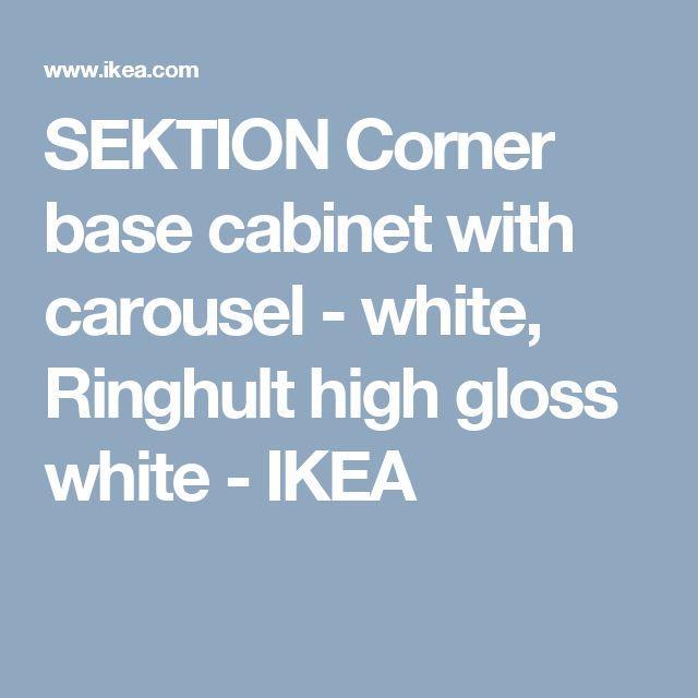 SEKTION Corner base cabinet with carousel - white, Ringhult high gloss white  - IKEA