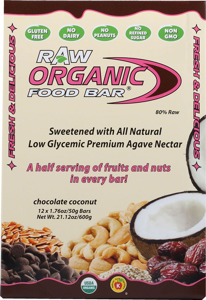 Organic Food Bar Raw Chocolate Coconut