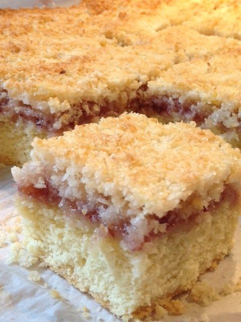 Coconut and jam slice