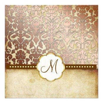 elegant vintage lined stationery paper  | Vintage Wedding Invitations | Vintage Baroque Damask Monogram ...