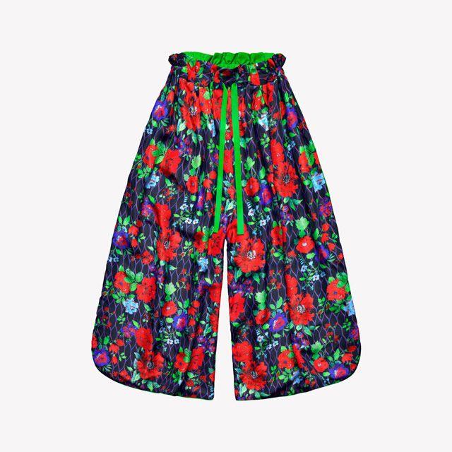 kenzo x h&m, silk wide leg pants