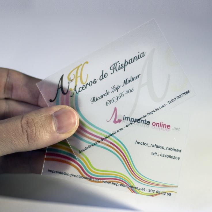 Tarjetas de visita transparentes.