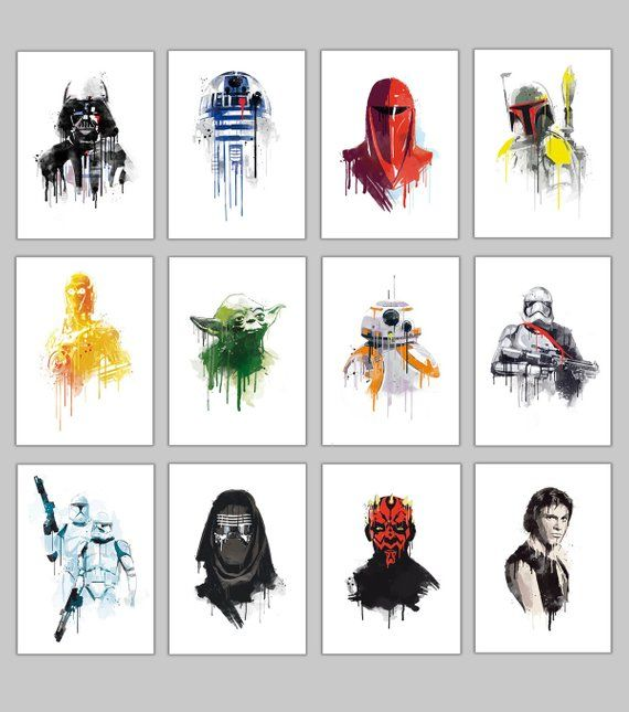 Alternative star wars watercolor Galactic empire 6 characters poster set collection wall art geek promo deal