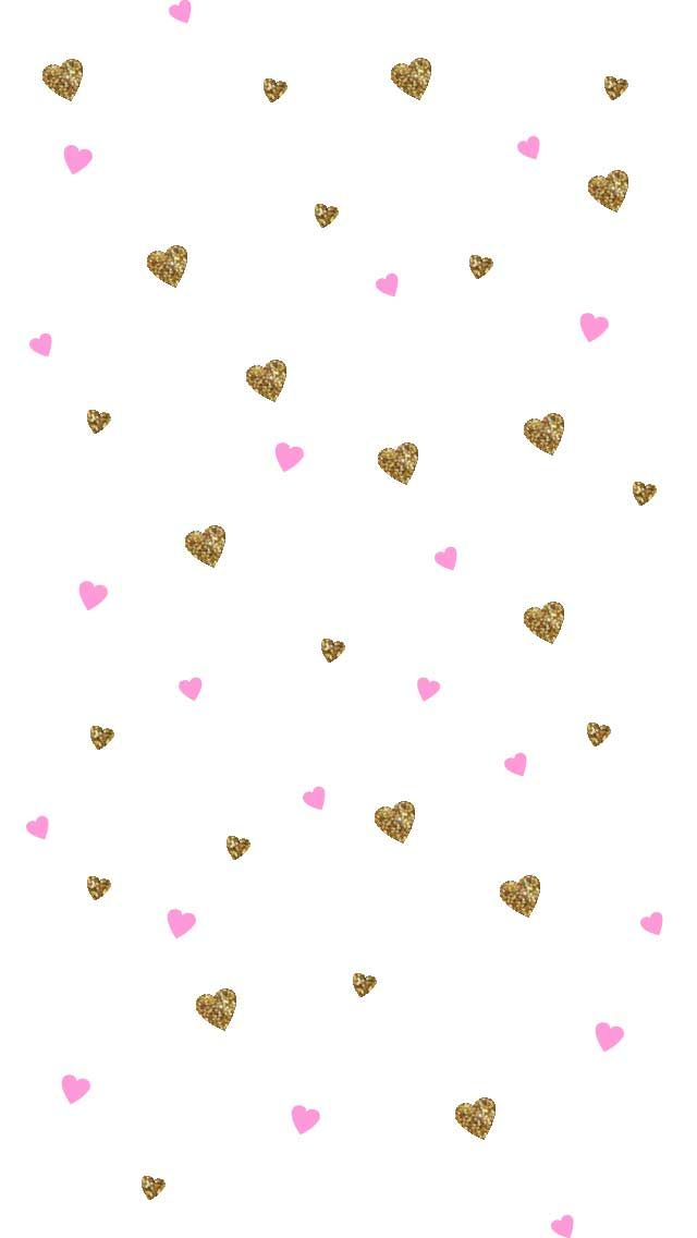 White pink gold ditsy hearts iphone phone wallpaper background lock screen