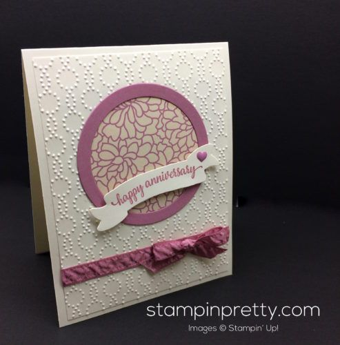 So In Love anniversary card idea.  Mary Fish, Stampin' Up! Demonstrator.  1000+ StampinUp & SUO card ideas.  Read more http://stampinpretty.com/2016/12/sweet-sugarplum-anniversary-card.html