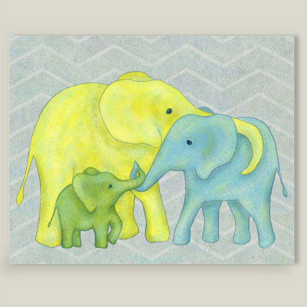 Fun Indie Art from BoomBoomPrints.com! http://www.boomboomprints.com/Product/elephanttrunkstudio/Elephant_Family_of_Three/Art_Prints/8x10_Print/