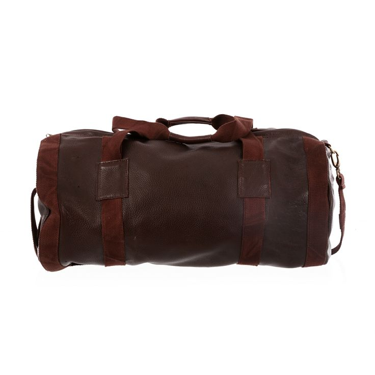 Dark Horse #Leather #Duffel #Bag in Kudu. Brown trapping, perfect for #travel. With #pinstripe interior. Fit's perfect;y into the overhead locker of a plane. Crafted in #Capetown