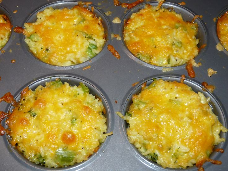 Easy Cheesy Broccoli Rice In A Muffin Tin I Am Adding My Own Parsley