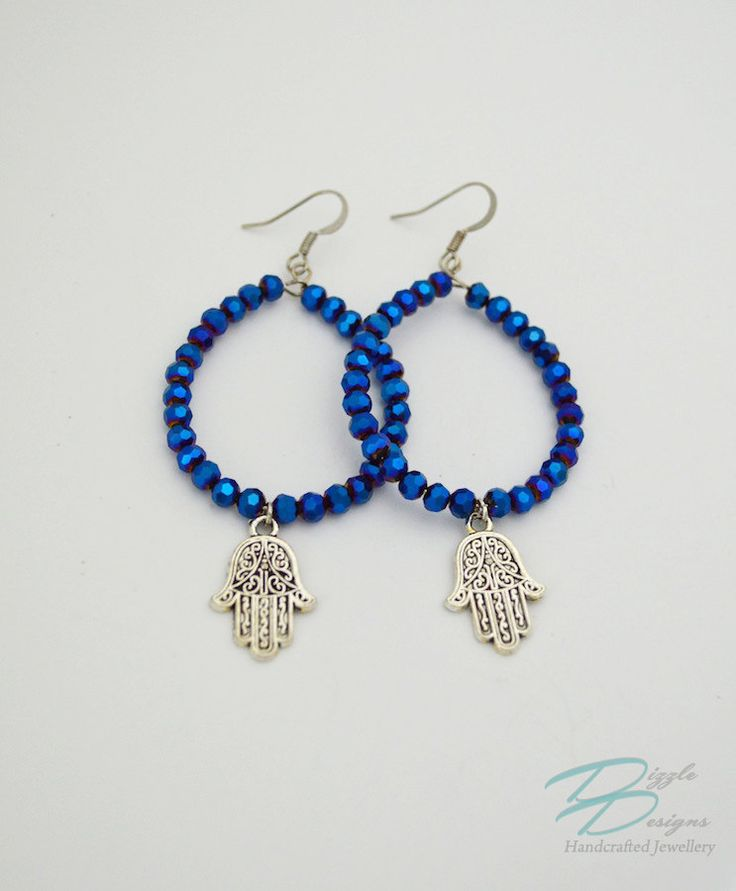 Metallic Cobalt Blue Crystal Hoop Earrings w/ Silver Filigree Hamsa Charms by DizzleDesigns on Etsy