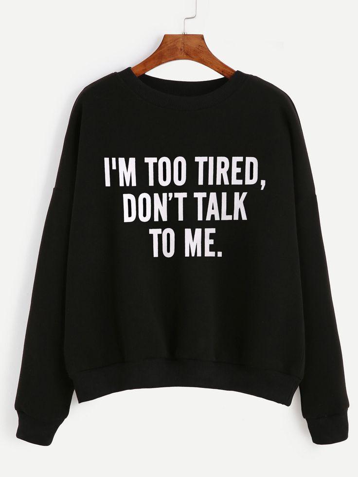 Sweatshirt Slogan Druck Drop Schulter-sc…
