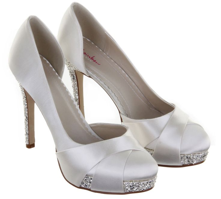Rainbow Club Wedding Shoes Christy Ivory And Silver Dyeable Bridal